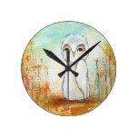 Pintura caprichosa del arte del búho del arbolado  relojes