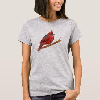 Pintura cardinal roja de la acuarela del pájaro playera