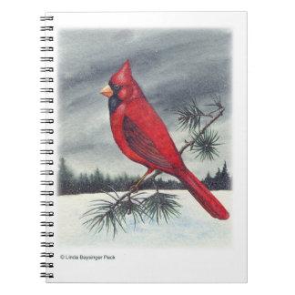 Pintura cardinal roja del pájaro libreta