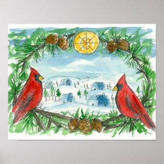 Pintura cardinal roja del pueblo de la nieve del póster