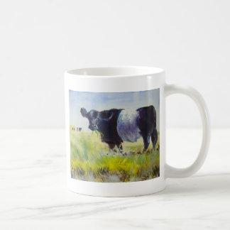 Pintura ceñida de la vaca de Galloway Tazas De Café