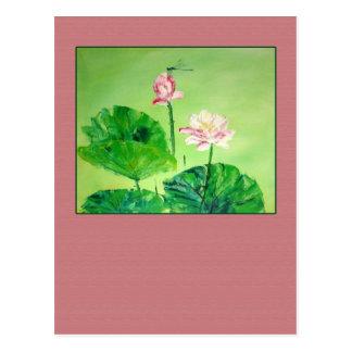 Pintura china antigua de flores rosadas postal
