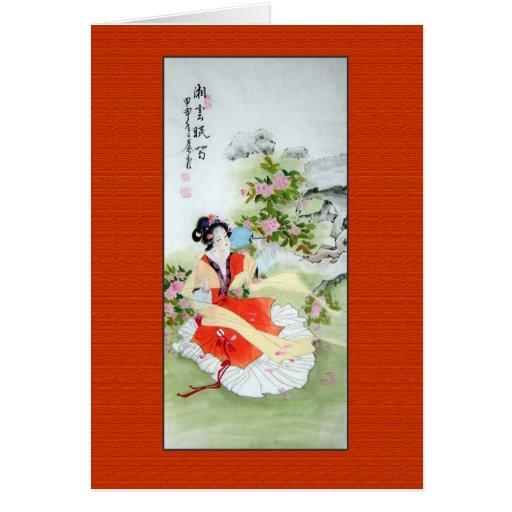 Pintura china antigua de señora In Orange Tarjeta De Felicitación