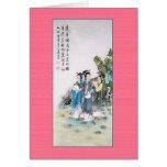 Pintura china antigua de tres señoras felicitacion
