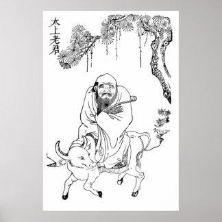 Pintura china de la dinastía de Tzu Ming del Lao Póster