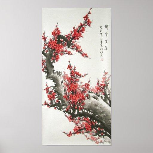 Pintura china de la flor de cerezo (impresión digi poster