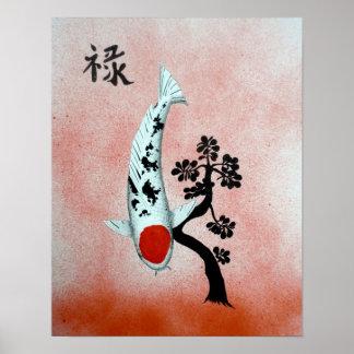 Pintura china de la prosperidad del jade de Koi Ta Póster