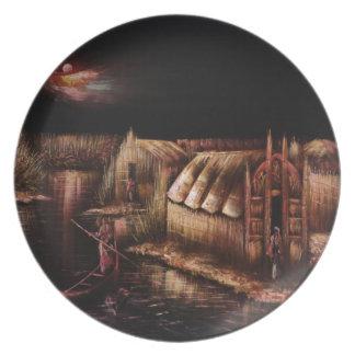 Pintura china de la vida del río plato de cena