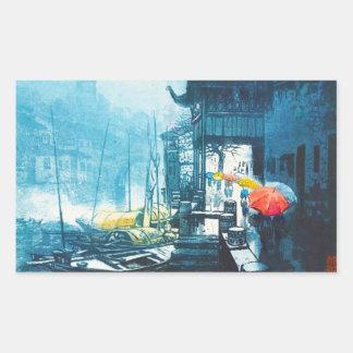 Pintura china del paisaje de Chou Xing Hua Suzhou Pegatina Rectangular
