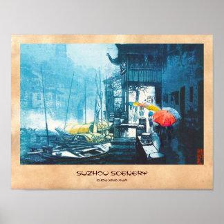 Pintura china del paisaje de Chou Xing Hua Suzhou Póster