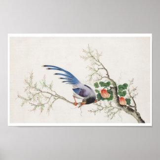 Pintura china del pájaro posters