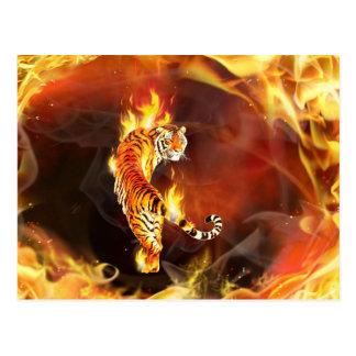 Pintura china del tigre postales