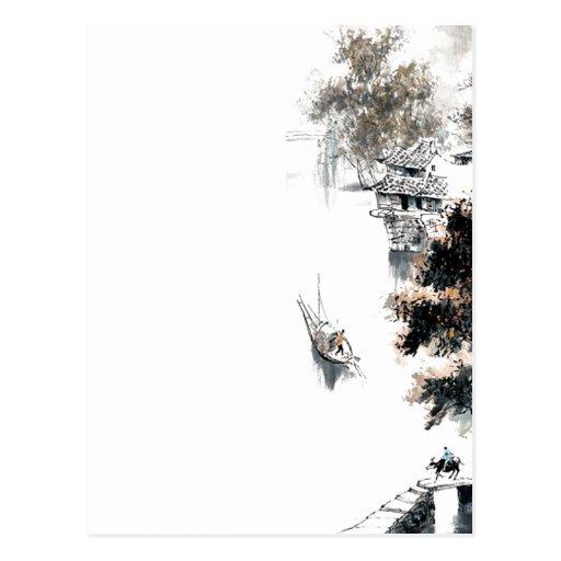 Pintura china escénica del cepillo del paisaje de  postales