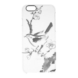 Pintura china, flor del ciruelo y pájaro funda clear para iPhone 6/6S