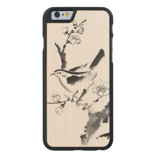 Pintura china, flor del ciruelo y pájaro funda de iPhone 6 carved® slim de arce