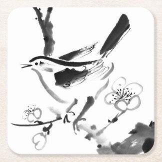 Pintura china, flor del ciruelo y pájaro posavasos de cartón cuadrado
