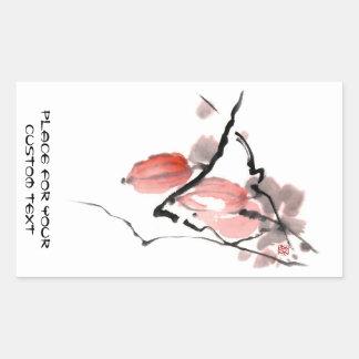 Pintura china oriental clásica de las frutas de la rectangular pegatinas