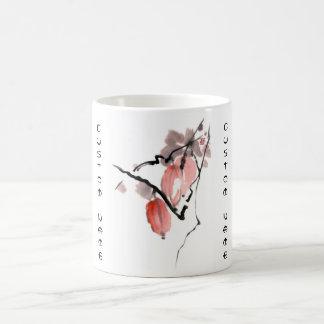 Pintura china oriental clásica de las frutas de la taza clásica