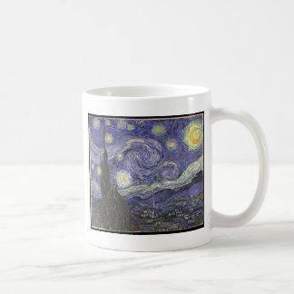 Pintura clásica de la noche estrellada de Van Gogh Taza Básica Blanca