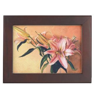 Pintura clásica de las flores de los lirios del ce caja de recuerdos