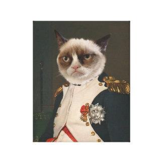 Pintura clásica del gato gruñón impresiones en lienzo estiradas