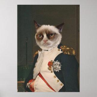 Pintura clásica del gato gruñón póster