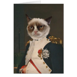Pintura clásica del gato gruñón tarjeta de felicitación