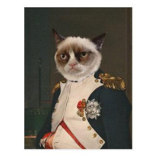 Pintura clásica del gato gruñón postal