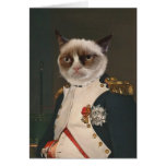 Pintura clásica del gato gruñón tarjeton