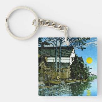 Pintura clásica del paisaje del japanee oriental f llavero cuadrado acrílico a doble cara