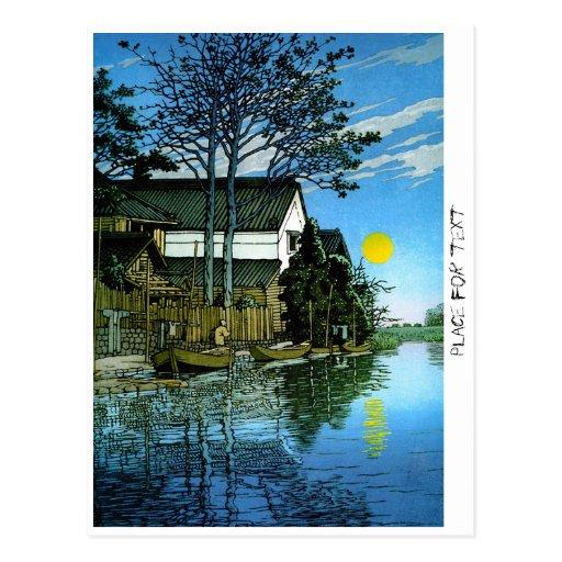 Pintura clásica del paisaje del japanee oriental f postales