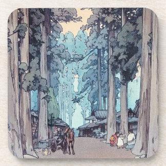 Pintura clásica japonesa fresca del bosque de Hiro Posavasos De Bebidas