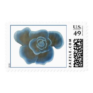 Pintura color de rosa azul, sellos de la flor