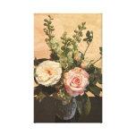 Pintura color de rosa botánica lona envuelta para galerías