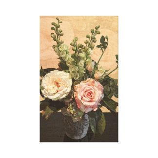 Pintura color de rosa botánica lona envuelta para galerias