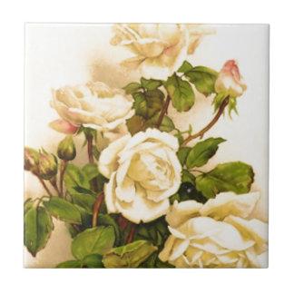 Pintura color de rosa de marfil del Victorian Azulejo Cuadrado Pequeño