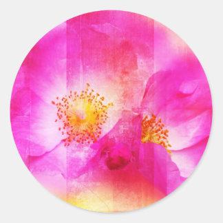 Pintura color de rosa, digital salvaje rosada pegatina redonda