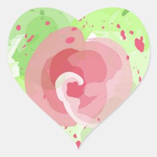 Pintura color de rosa pegatina en forma de corazón