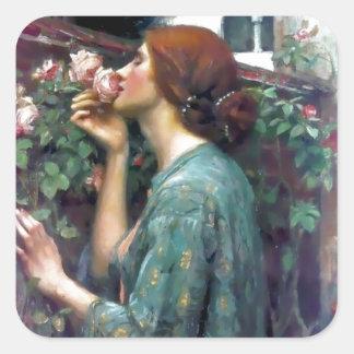 Pintura color de rosa perfumada del Waterhouse Pegatina Cuadrada