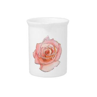 Pintura color de rosa rosada de la acuarela jarrón