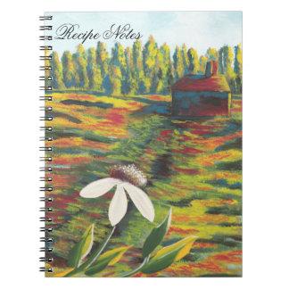 Pintura colorida brillante de la flor en prado cuaderno