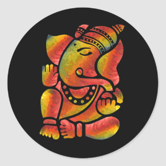 Pintura colorida de Ganesha Pegatina Redonda