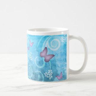 Pintura colorida de la acuarela de la mariposa tazas de café