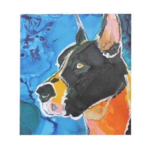 Pintura colorida de la tinta del alcohol del perro blocs de notas