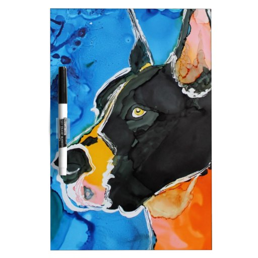 Pintura colorida de la tinta del alcohol del perro pizarras blancas