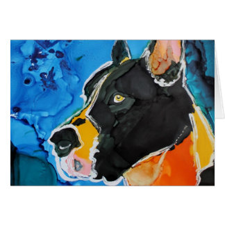Pintura colorida de la tinta del alcohol del perro felicitaciones