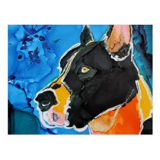 Pintura colorida de la tinta del alcohol del perro tarjetas postales