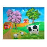Pintura colorida de la vaca y de las ovejas del ar postal