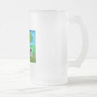 Pintura colorida de la vaca y de las ovejas del ar taza cristal mate