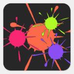 Pintura colorida de las salpicaduras del fiesta de pegatinas cuadradas personalizadas